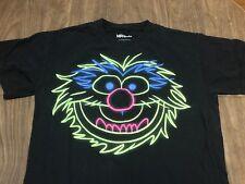 The Muppets Animal Neon Logo Medium Black T Shirt
