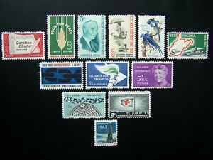 US STAMPS 1963 YEAR COMPLETE SET, SCOTT # 1230-1241. OG., MNH.