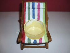Yankee Candle Ceramic Striped Beach Chair Tea Light Holder NEW