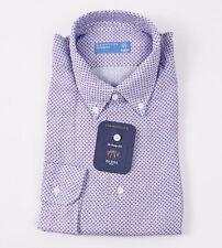 NWT $350 BARBA NAPOLI Blue Micro Paisley Print Linen Shirt 17 Modern-Fit