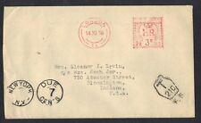 UK GB US 1958 POSTAGE DUE METER CANCELLED COVER T21C & NEW YORK DUE 7 CENTS