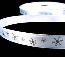 "5 Yds Christmas Light Blue Silver Snowflake Satin Ribbon 5/8""W"