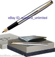 Parker Gift Set - Frontier Stainless Steel GT Fountain Pen and wallet Brand New