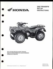 2002 HONDA TRX400FW SET UP INSTRUCTION MANUAL