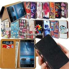 For Nokia Smartphones Flip Leather Card Wallet Stand Cover Phone Case + Strap
