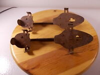 Antique metal ice skates with clover design vintage collector man cave sports