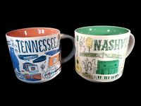 Starbucks Nashville and Tennessee Been There Series Ceramic Coffee Mug Set 14 oz