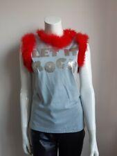 """Vivienne Westwood, rare """"Let it rock"""" Tshirt, with orange fur trims, size S"""
