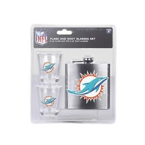 NFL Miami Dolphins 6oz Flask & 2oz Glass Shot, Stainless Steel Flask