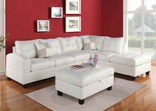 Sectional White Sofa Couch Chaise Tufted Bonded Leather Plush Cushion Pillows