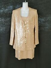 SEQUINED SHEATH DRESS WITH JACKET WOMENS SIZE 12 or Large