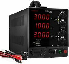 DC Power Supply Variable, 30V/10A, Digital Bench Power Supply, 4 LED Display