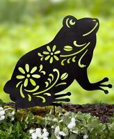 FROG Metal Animal Silhouette Stake Floral Cutouts Garden Lawn Yard Decor 16''H