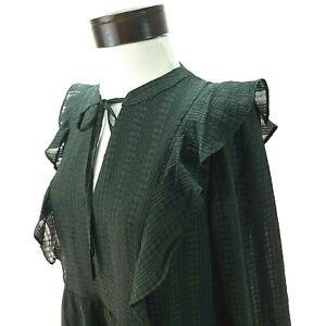 ANN TAYLOR LOFT Ruffle Dress Dark Olive Green Plaid Keyhole Tie Women's M NEW