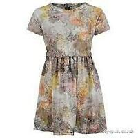 Firetrap AOP Skater Dress Womens Ladies Globe Map Print SS Size 14 L *REF06