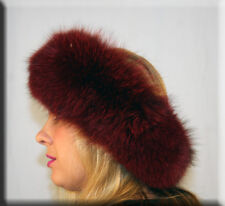 New Red Wine Fox Fur Headband 26 Inches Long and 5 Inches Wide