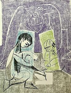 """""""LE PETIT DESSINATEUR"""" PABLO PICASSO Original Mourlot Lithograph Book Plate 1956"""