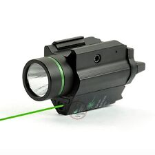 Tactical Combo CREE Flashlight + Green Laser Sight Weaver Rail For Pistol/Glock