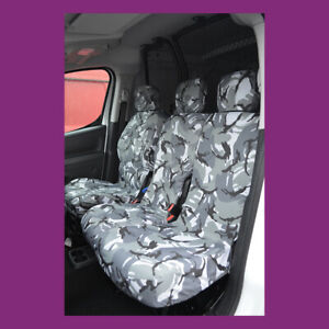 Peugeot Partner 08-2018 Waterproof Tailored Front Triple 3 Grey Camo Seat Covers