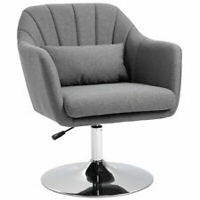 Linen Upholstered Height Adjustable Armchair w/ Pillow Grey Seater Chair