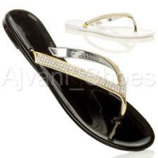 Flache Damen-Sandalen & -Badeschuhe mit Blockabsatz und Strass
