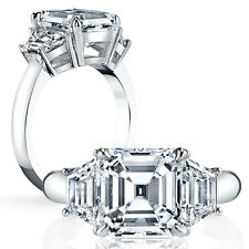 1.60ct Natural Asscher 3-Stone Trapezoid Diamond Engagement Ring - GIA Certified