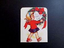 #K770- Vintage Unused Marjorie M Cooper Xmas Greeting Card Cute Girl with Wreath