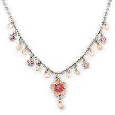 Vintage Inspired Pink Enamel, Crystal Flowers, Freshwater Pearl Necklace In Anti