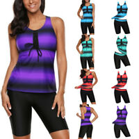 Womens Push-up Two-piece Swim Dress Swimsuit Bikini Swimwear Plus Size Tankini