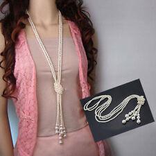 Women Elegant Faux Pearl Tassel Pendant Long Chain Sweater Necklace Cheap