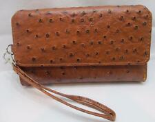 SAX Wristlet Purse Clutch Wallet Tan w/ Black Pebble Zipper & Snap Compartment