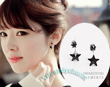 Unique style Made in Korea Double Black Stars Back Drop Earrings Studs SET