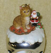 Ashton Drake Cat Purr-Fect Holidays Sleigh Bell Ornament Watching For Santa