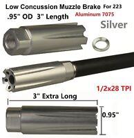 Anodied Silver Low Concussion 223 Muzzle Brake Compensator 1/2x28
