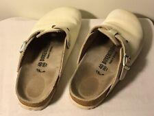 Birkenstock Birkis 260 Größe 40 Sandalen Rutschen Schuhe Leder Weiß Hausschuhe