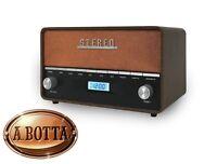 Radio Portatile Digitale Vintage Retrò  AKAI R200 con Bluetooth USB Sveglia AUX