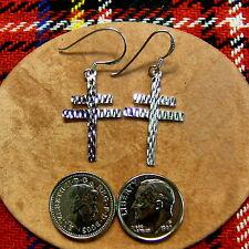 Sterling silver cross of lorraine earrings