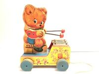 Vintage Fisher Price Tiny Teddy Wood Musical Pull Toy Original Version 634