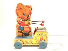 Vintage Fisher Price Tiny Teddy Wood Musical Pull Toy Original V 00004000 ersion 634