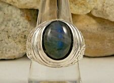Ring Size 8 Tcw 9.65 Genuine Malagasy Labradorite Hand Crafted