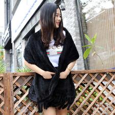 Knitted Black Mink Fur Shawl with Fringes, Wedding Shawl ,Wedding Cape