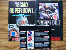 SUPER NINTENDO TECMO SUPER BOWL,TECMO SUPER BOWL 3,SIM CITY BOOKLET ITEM #427