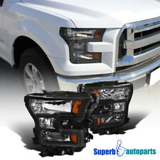 2015-2017 Ford F150/F-150 Pickup Black Headlights Driving Lamps Replacement Pair