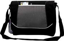 Unisex College School Messenger Shoulder Despatch Bag Black Trim Black Grey 7123