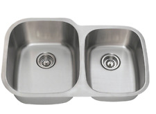 "SGI 32"" Stainless Steel 18 Gauge Undermount 60/40 Double Bowl Kitchen Sink T-304"