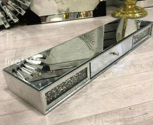 Mirrored Diamond Crush Floating Wall Shelf Crystal Modern 80x20 Sparkly bling