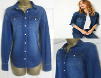 NEW M&S Per Una Ladies Blue Denim Shirt Top Cotton Patch Pocket 8-22 RRP £35