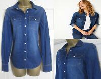 NEW M&S Per Una Ladies Blue Denim Shirt Top Cotton Patch Pocket 8-22 RRP £35