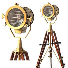 Vintage Brass Nautical Searchlight Floor Lamp Spotlight Wooden Tripod Light.
