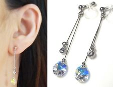 Dangle Swarovski Aurora Borealis Rhinestone Crystal Invisible Clip On Earrings